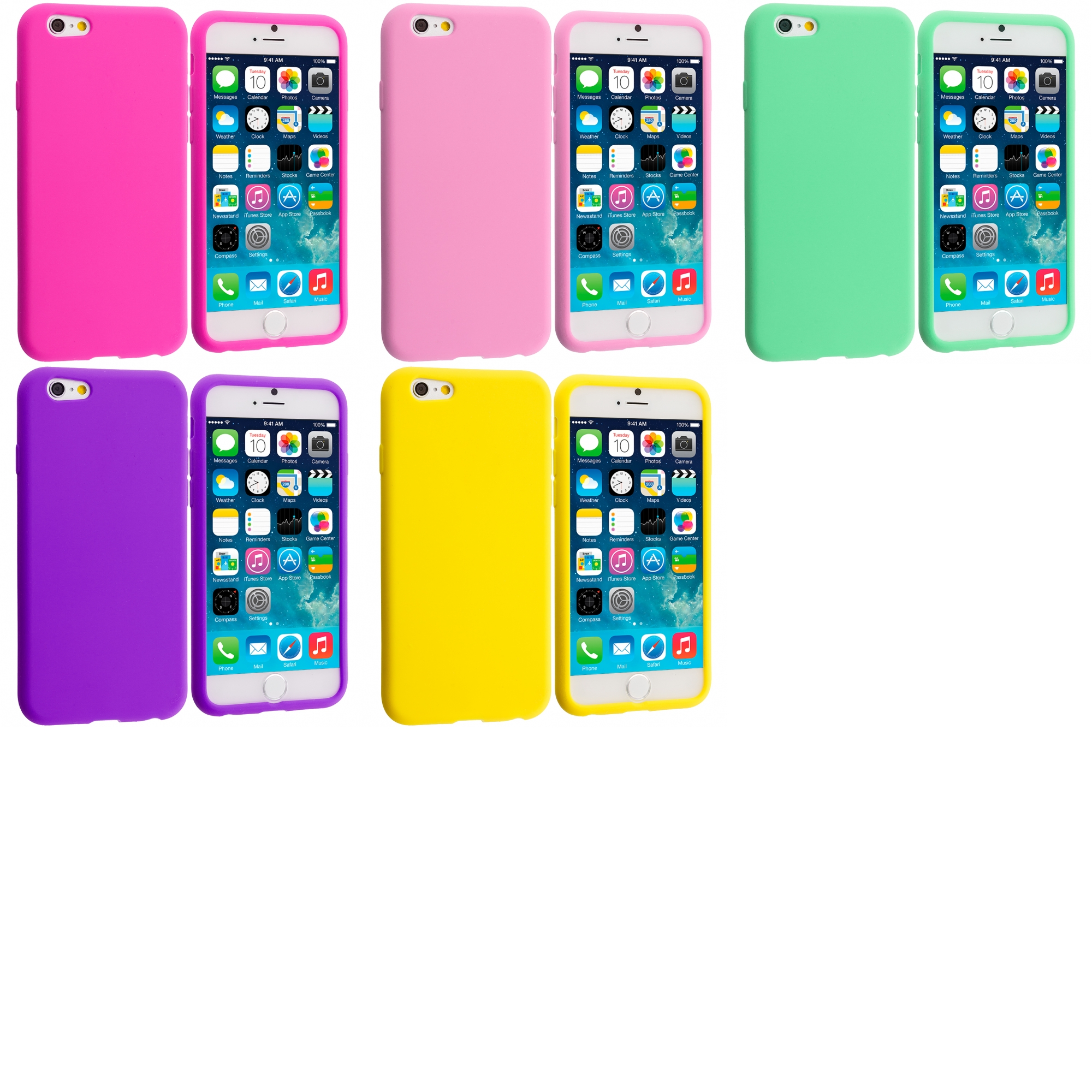 Apple iPhone 6 5 in 1 Bundle - Silicone Soft Skin Case Cover