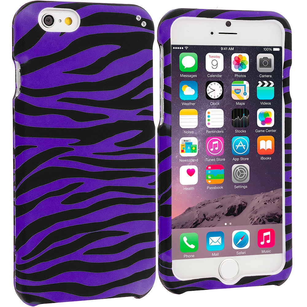 Apple iPhone 6 6S (4.7) Black / Purple Zebra Hard Rubberized Design Case Cover