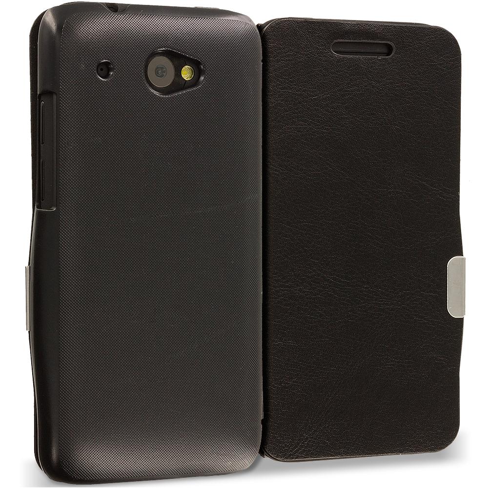 HTC Desire 601 Black Magnetic Flip Wallet Case Cover Pouch