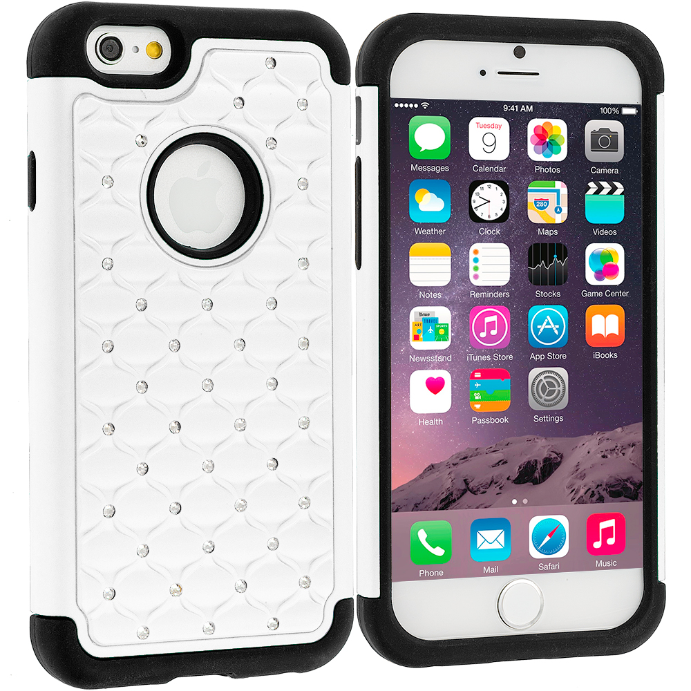 Apple iPhone 6 Plus 6S Plus (5.5) 5 in 1 Combo Bundle Pack - Hard Rubberized Diamond Case Cover : Color White