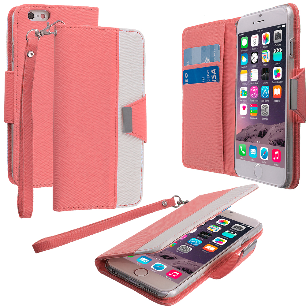 Apple iPhone 6 6S (4.7) 7 in 1 Combo Bundle Pack - Wallet Magnetic Metal Flap Case Cover With Card Slots : Color Light Pink