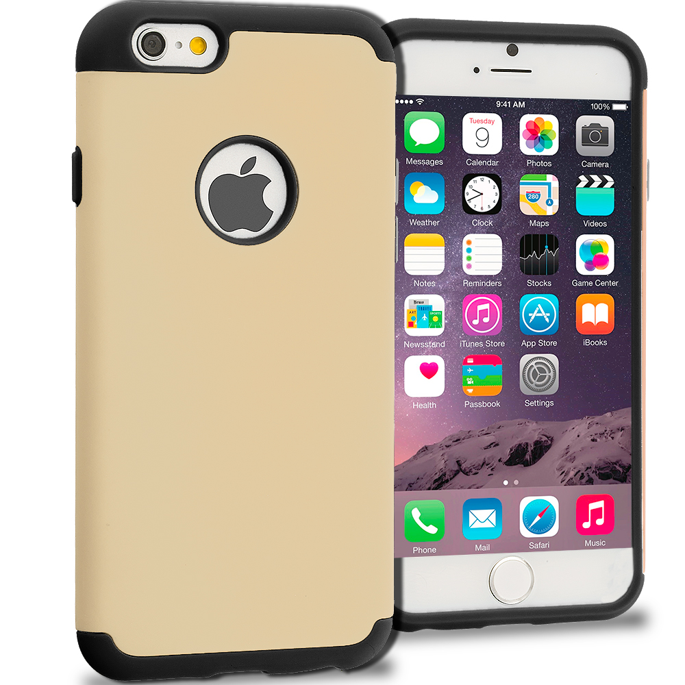 Apple iPhone 6 6S (4.7) Black / Golden Hybrid Slim Hard Soft Rubber Impact Protector Case Cover