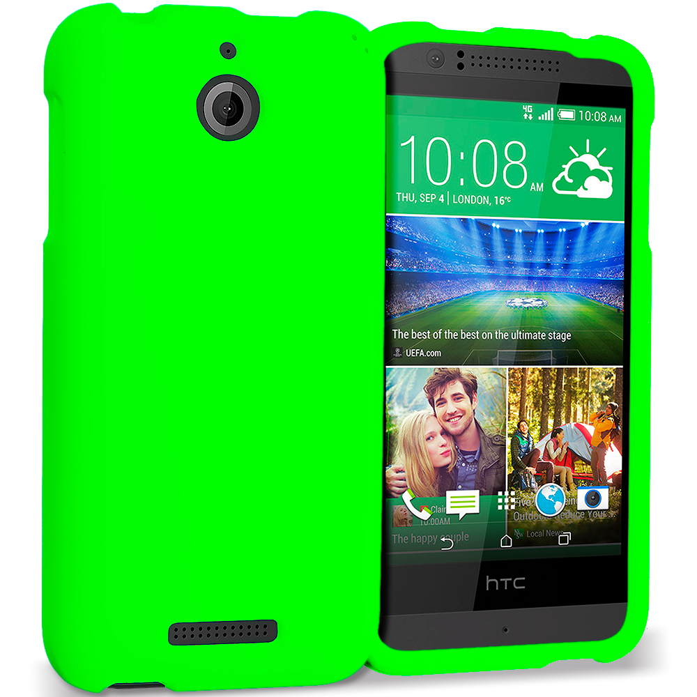 HTC Desire 510 512 Neon Green Hard Rubberized Case Cover