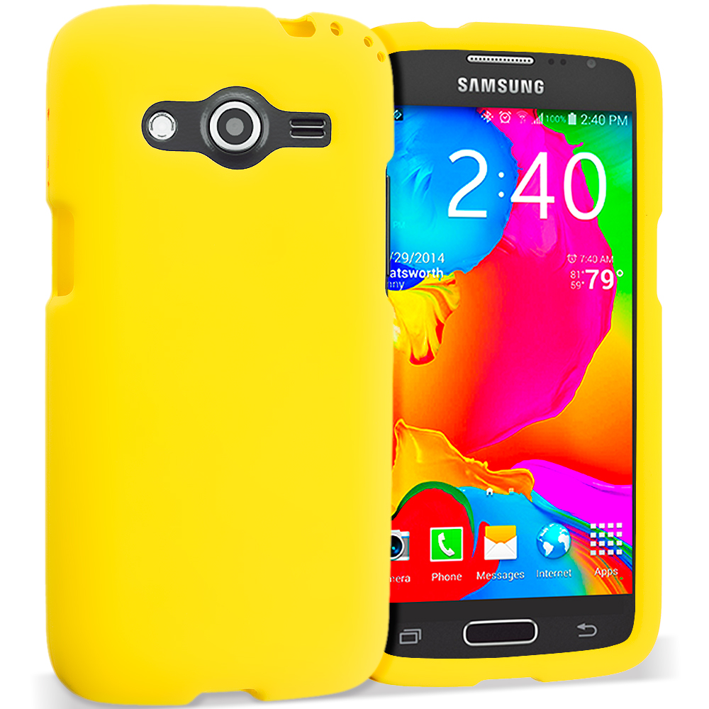 Samsung Galaxy Avant G386 Yellow Hard Rubberized Case Cover