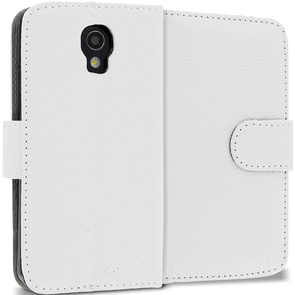 LG Volt LS740 White Leather Wallet Pouch Case Cover with Slots
