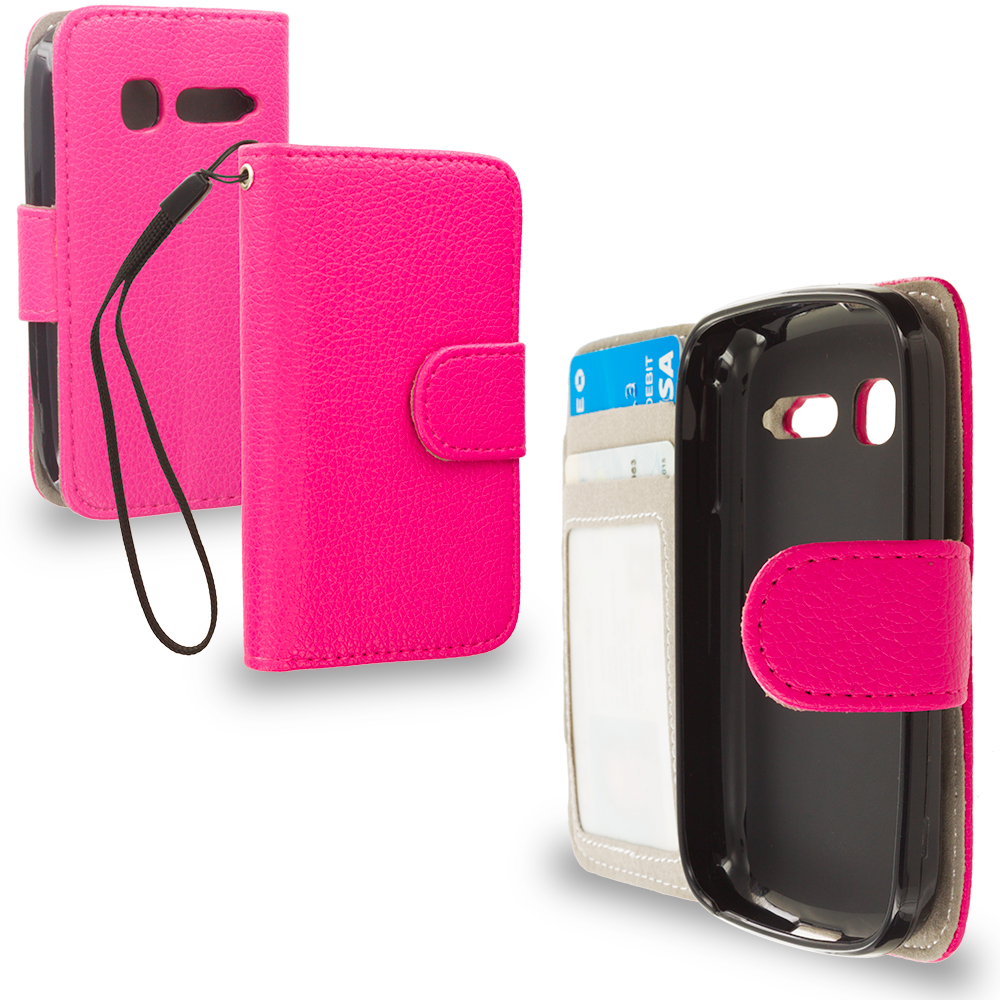 Alcatel One Touch Pop C1 Hot Pink Leather Wallet Pouch Case Cover with Slots