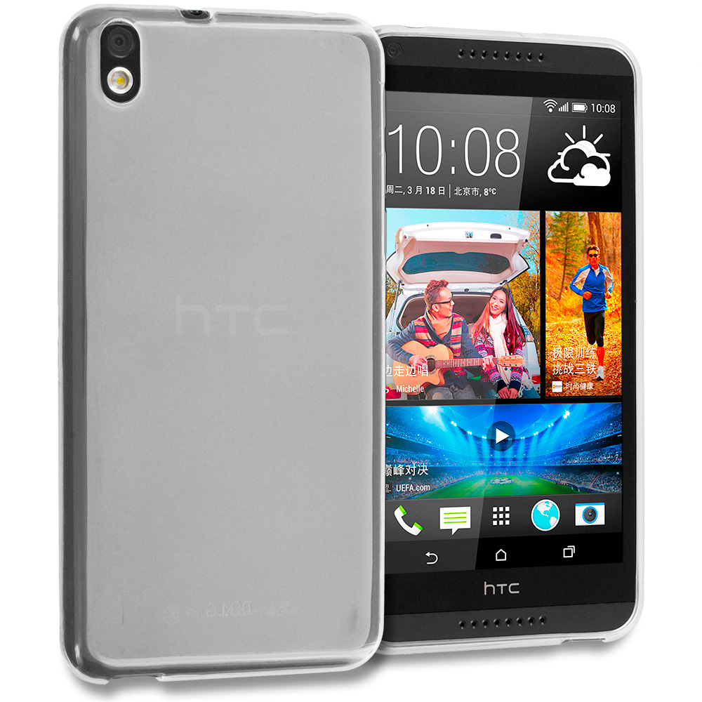 HTC Desire 816 Clear TPU Rubber Skin Case Cover