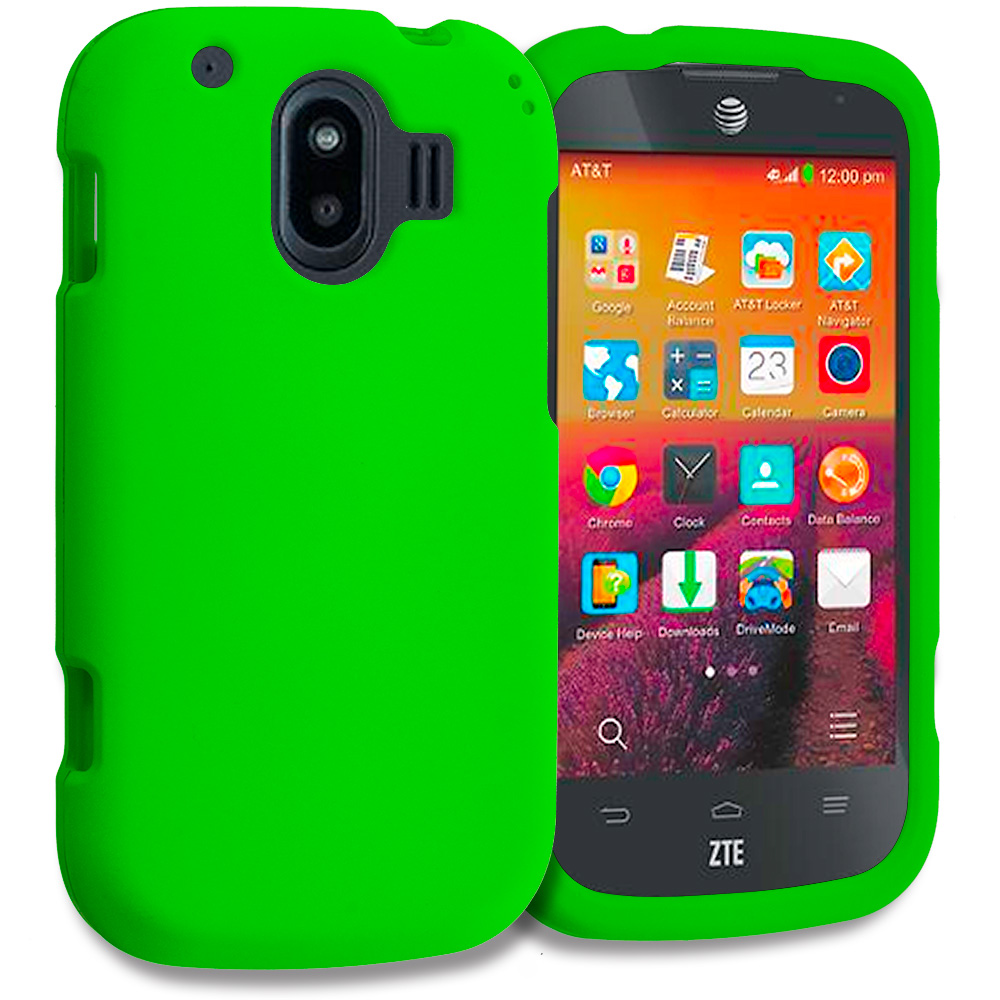 ZTE Compel Neon Green Hard Rubberized Case Cover