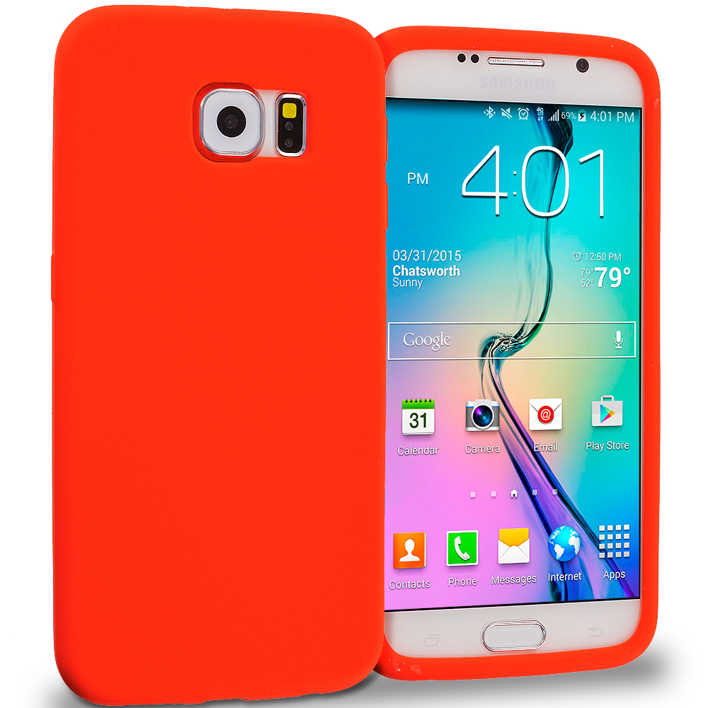 Samsung Galaxy S6 Red Silicone Soft Skin Rubber Case Cover