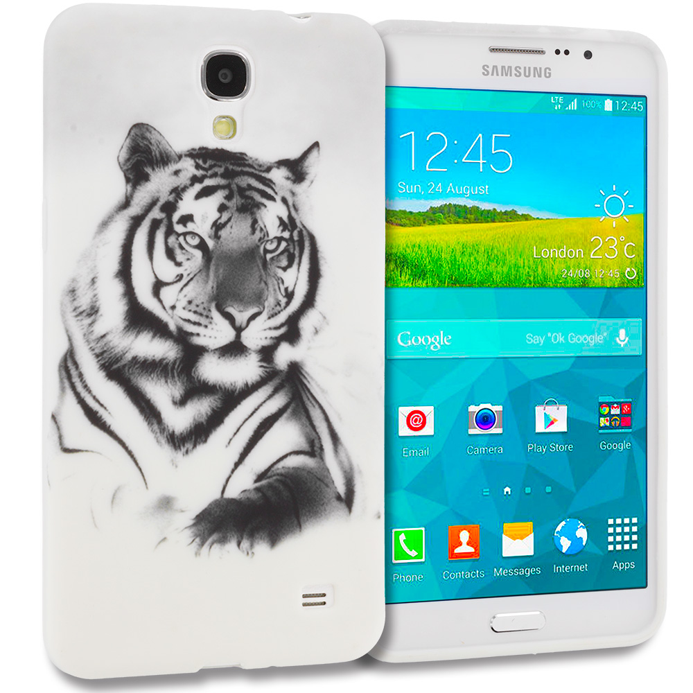 Samsung Galaxy Mega 2 Combo Pack : Purple Dolphin TPU Design Soft Rubber Case Cover : Color White Tiger