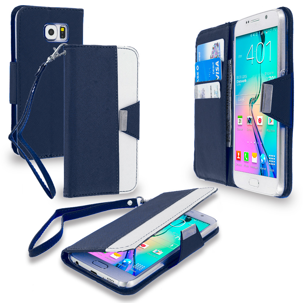 Samsung Galaxy S6 Blue Wallet Magnetic Metal Flap Case Cover With Card Slots