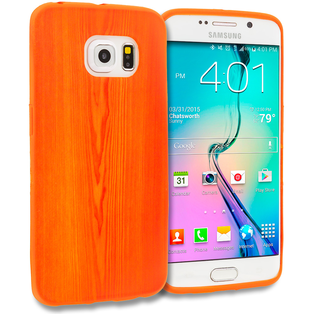 Samsung Galaxy S6 Edge Wood Grain TPU Design Soft Rubber Case Cover