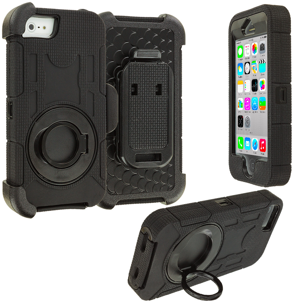 Apple iPhone 5C Black Hybrid Heavy Duty Shockproof Armor Case Cover With Rotating Belt Clip Holster