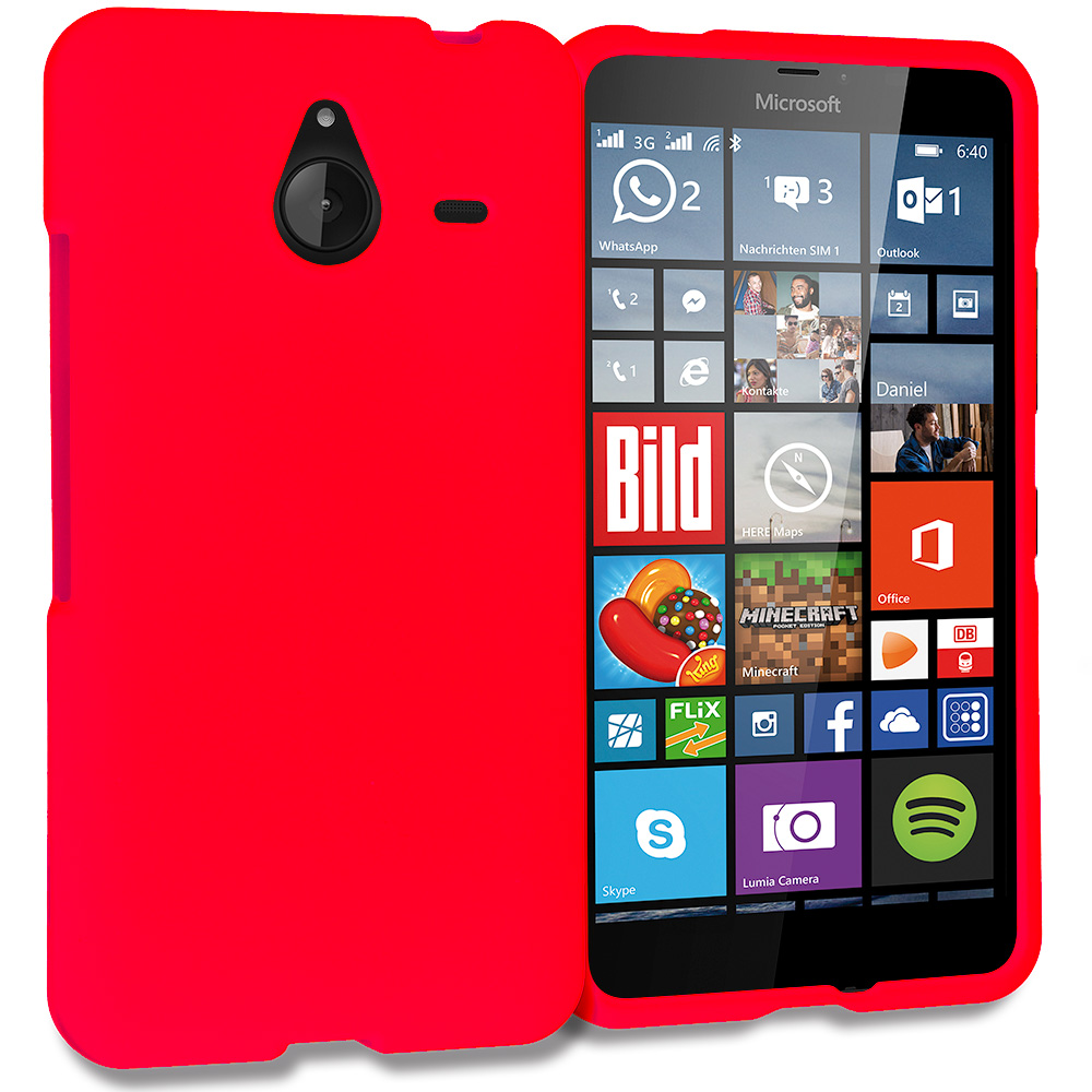Microsoft Lumia 640 XL Red Hard Rubberized Case Cover