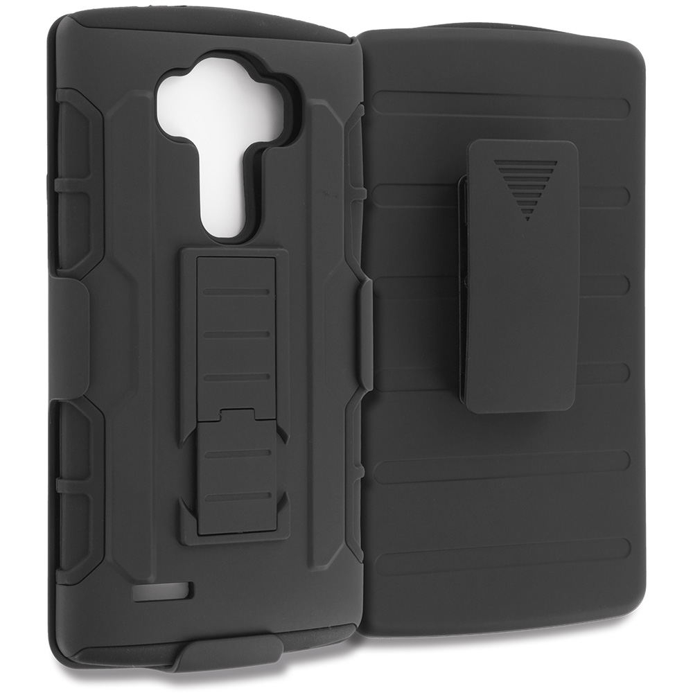LG G4 Black Hybrid Rugged Robot Armor Heavy Duty Case Cover with Belt Clip Holster