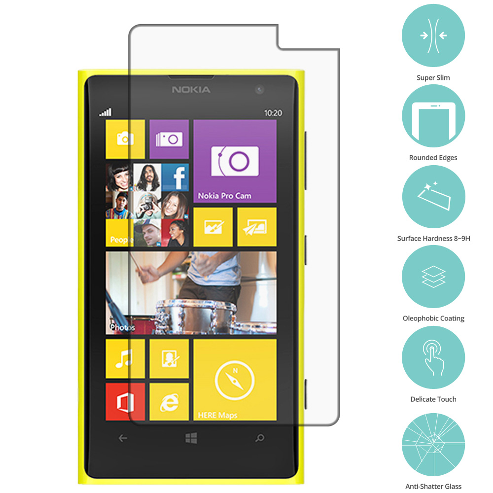 Nokia Lumia 1020 Clear Tempered Glass Film Screen Protector Clear
