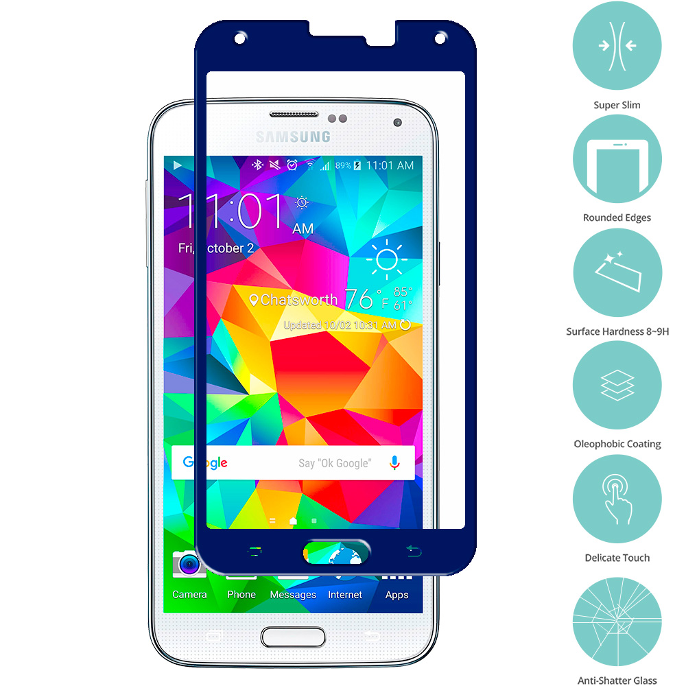 Samsung Galaxy S5 Blue Tempered Glass Film Screen Protector Colored