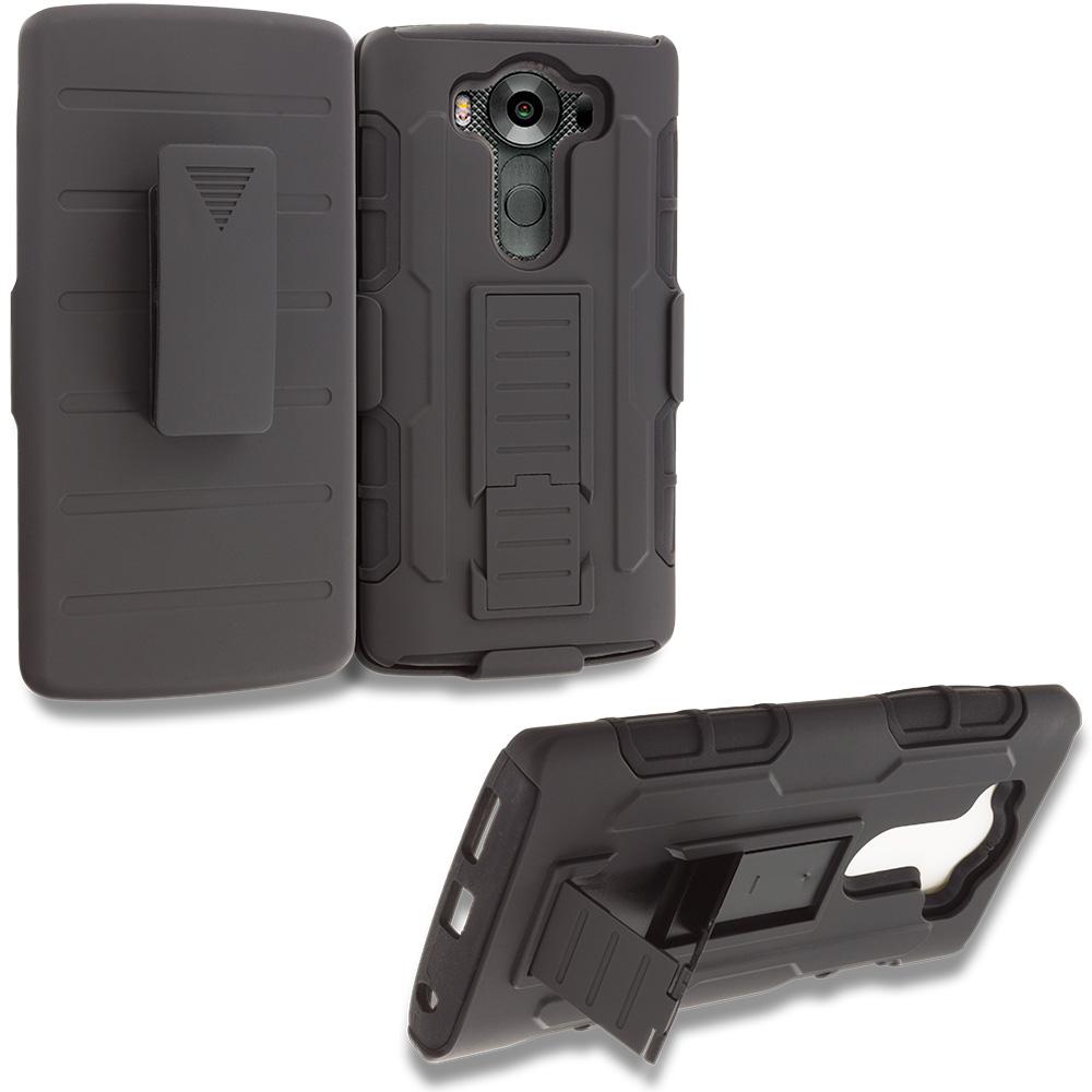 LG V10 Black Hybrid Rugged Robot Armor Heavy Duty Case Cover with Belt Clip Holster