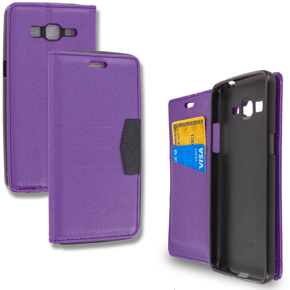 Samsung Galaxy Grand Prime LTE G530 Purple Wallet Flip Leather Pouch Case Cover with ID Card Slots