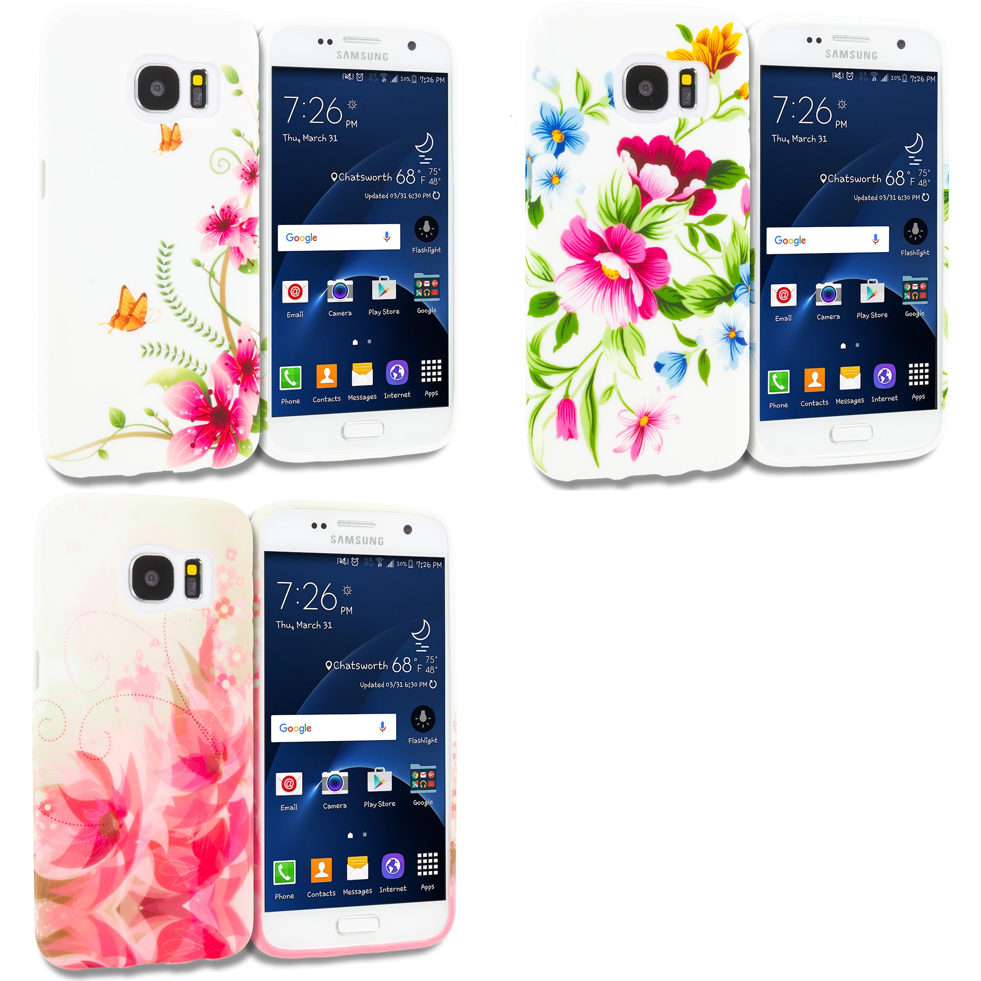 Samsung Galaxy S7 Combo Pack : Corner Pink Flower TPU Design Soft Rubber Case Cover