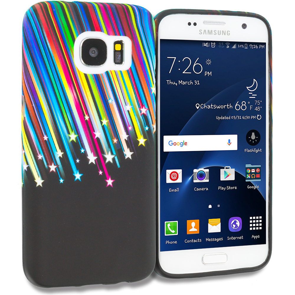 Samsung Galaxy S7 Combo Pack : Rainbow Star TPU Design Soft Rubber Case Cover : Color Rainbow Star