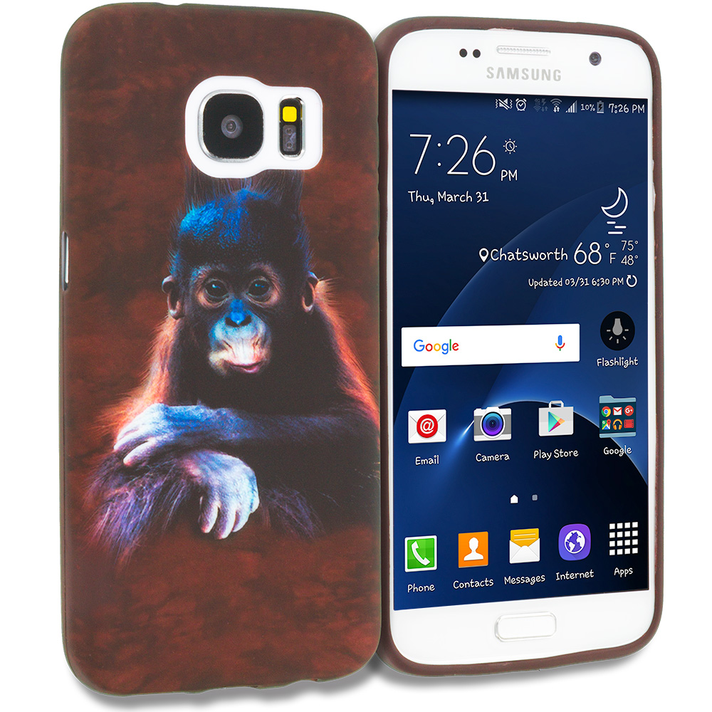 Samsung Galaxy S7 Edge Monkey TPU Design Soft Rubber Case Cover