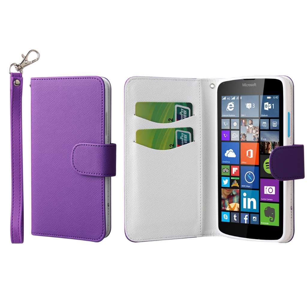 Microsoft Lumia 640 - Purple MPERO FLEX FLIP Wallet Case Cover