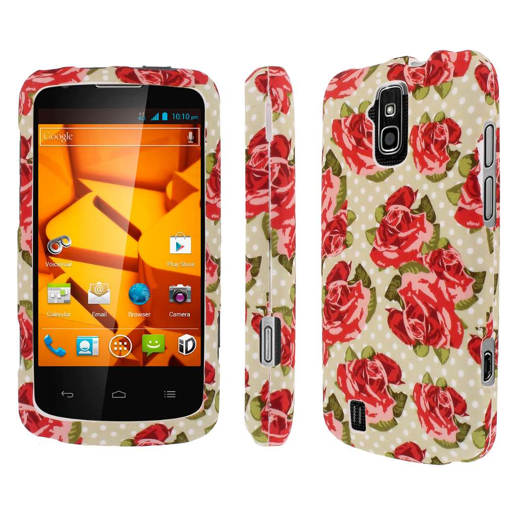 ZTE Force - Vintage Red Roses MPERO SNAPZ - Rubberized Case Cover