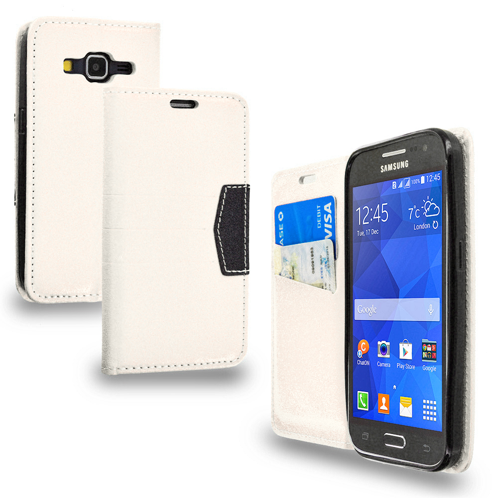 Samsung Galaxy Prevail LTE Core Prime G360P Combo Pack : Black Wallet Flip Leather Pouch Case Cover with ID Card Slots : Color White