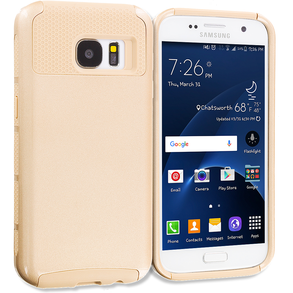 Samsung Galaxy S7 Combo Pack : Gold / Gold Hybrid Hard TPU Honeycomb Rugged Case Cover : Color Gold / Gold
