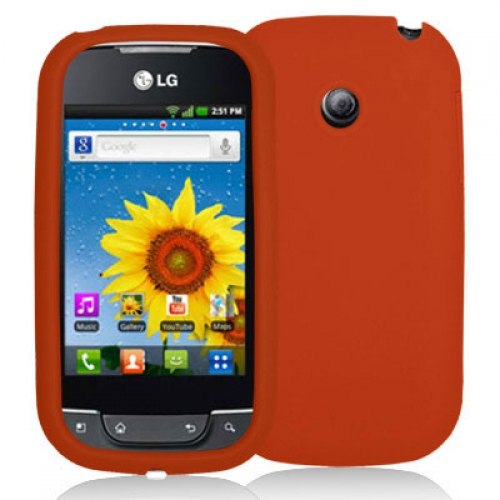 LG Optimus Net P690 Orange Silicone Soft Skin Case Cover