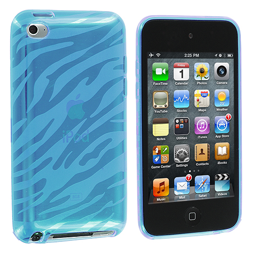 Apple iPod Touch 4th Generation Blue Zebra TPU Rubber Skin Case Cover