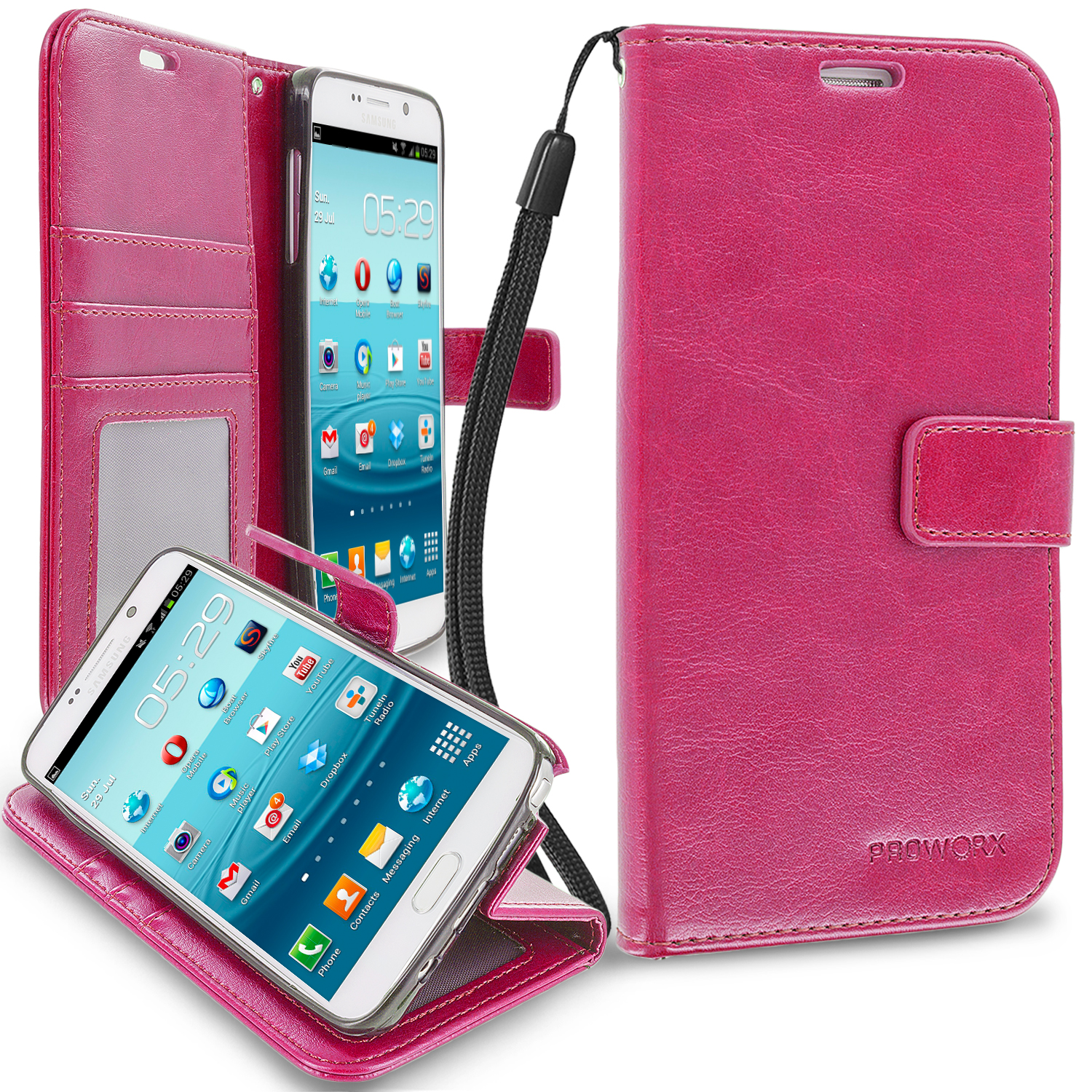 Samsung Galaxy Note 5 Hot Pink ProWorx Wallet Case Luxury PU Leather Case Cover With Card Slots & Stand