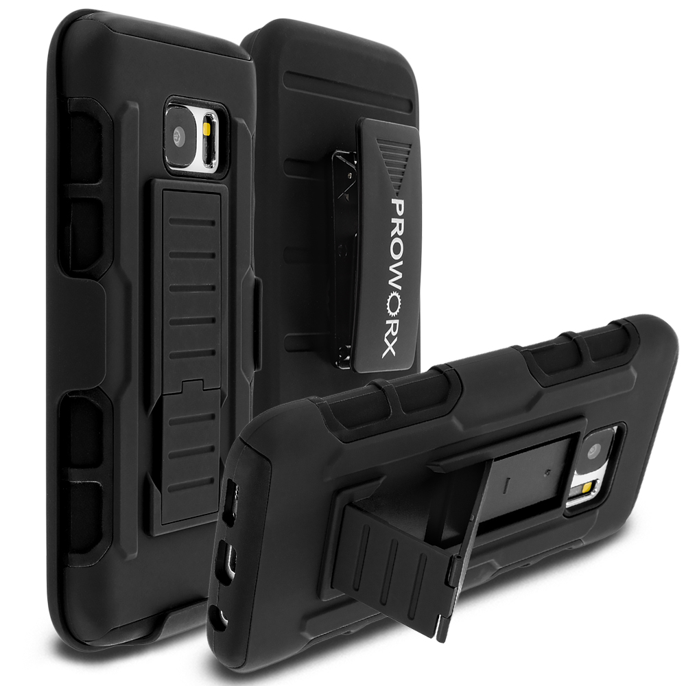 Samsung Galaxy S7 Black ProWorx Heavy Duty Shock Absorption Armor Defender Holster Case Cover With Belt Clip