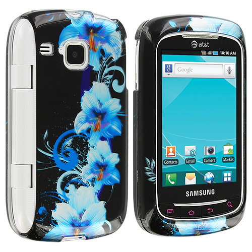 Samsung Doubletime i857 Blue Flowers Design Crystal Hard Case Cover