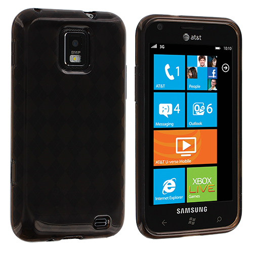 Samsung Focus S i937 Smoke Checkered TPU Rubber Skin Case Cover