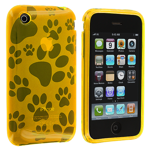Apple iPhone 3G / 3GS Yellow Dog Paw TPU Rubber Skin Case Cover
