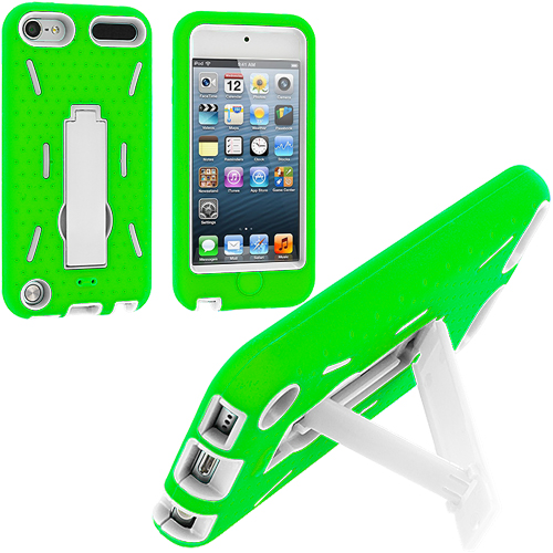 Apple iPod Touch 5th 6th Generation Green / White Hybrid Heavy Duty Hard/Soft Case Cover with Stand