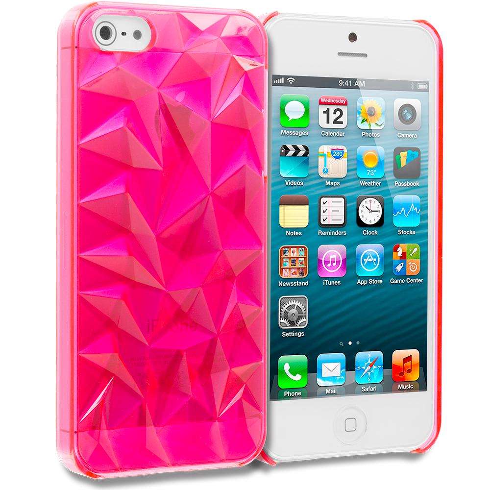 Apple iPhone 5/5S/SE 5 in 1 Combo Bundle Pack - Diamond Crystal Hard Back Cover Case : Color Hot Pink Diamond