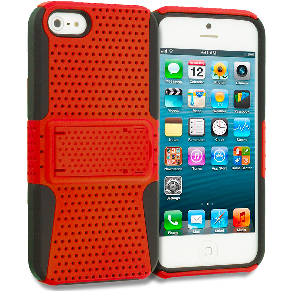 Apple iPhone 5/5S/SE Black / Orange Hybrid Mesh Hard/Soft Case Cover with Stand