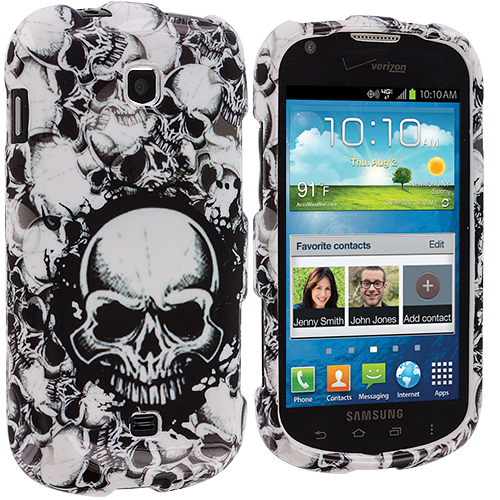 Samsung Galaxy Stellar i200 Black / White Skulls Design Crystal Hard Case Cover