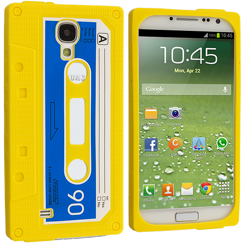 Samsung Galaxy S4 Yellow Cassette Silicone Soft Skin Case Cover