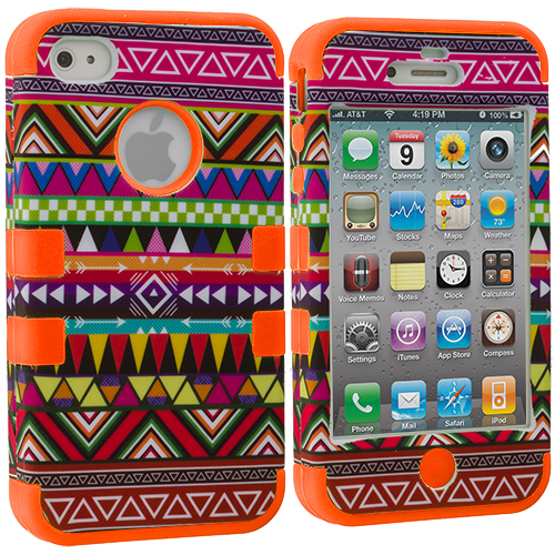 Apple iPhone 4 / 4S Orange Tribal Hybrid Tuff Hard/Soft 3-Piece Case Cover