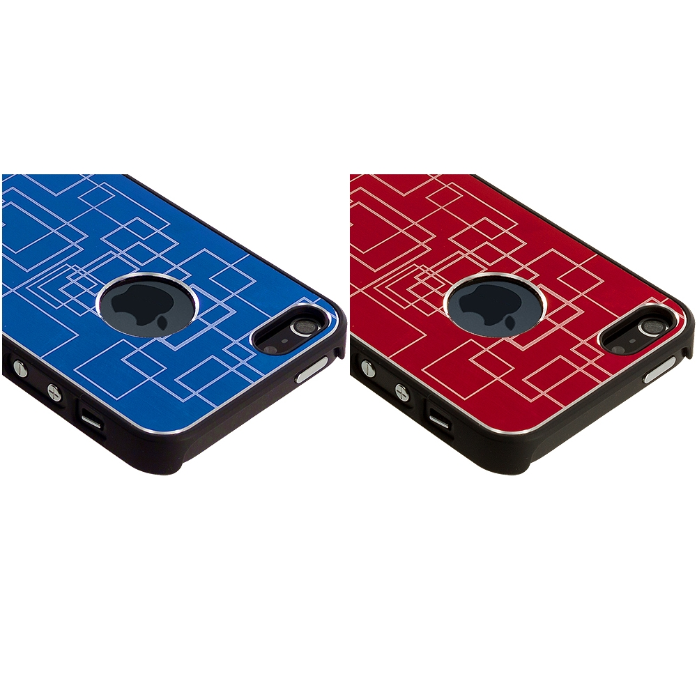 Apple iPhone 5/5S/SE Combo Pack : Blue Metal Grid Aluminum Metal Hard Case Cover