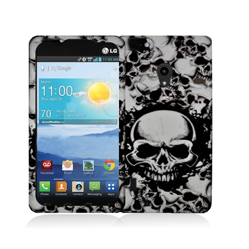 LG Lucid 2 VS870 Black White Skulls Hard Rubberized Design Case Cover