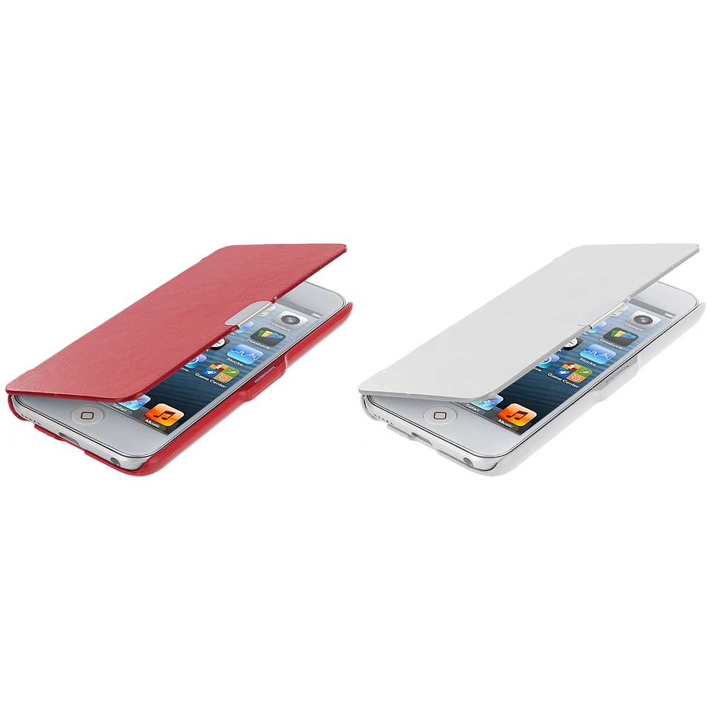 Apple iPod Touch 5th 6th Generation 2 in 1 Combo Bundle Pack - White Red Texture Magnetic Wallet Case Cover Pouch