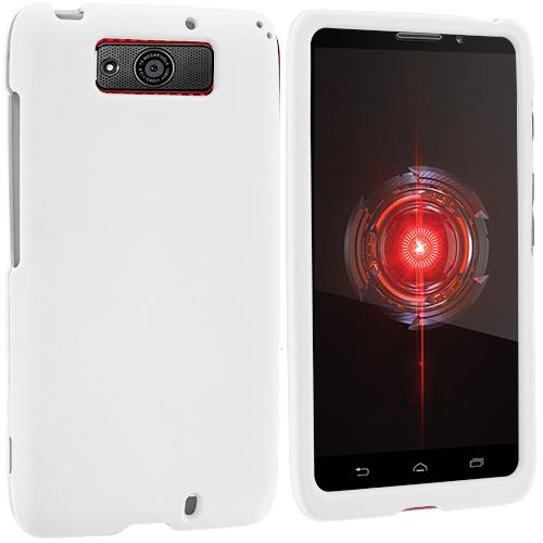 Motorola Droid Maxx XT1080m White Hard Rubberized Case Cover