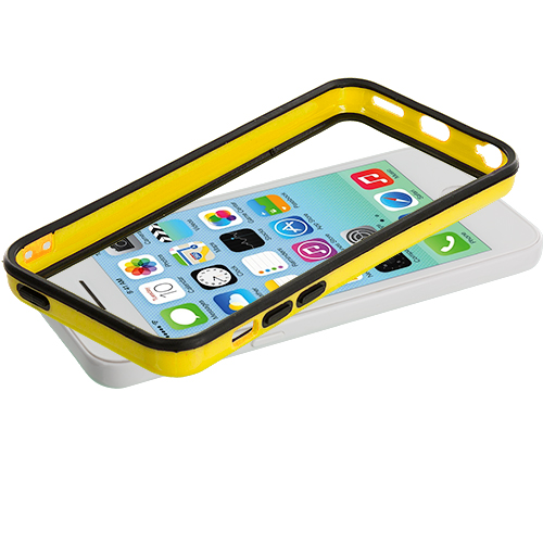 Apple iPhone 5C Black / Yellow TPU Bumper with Metal Buttons