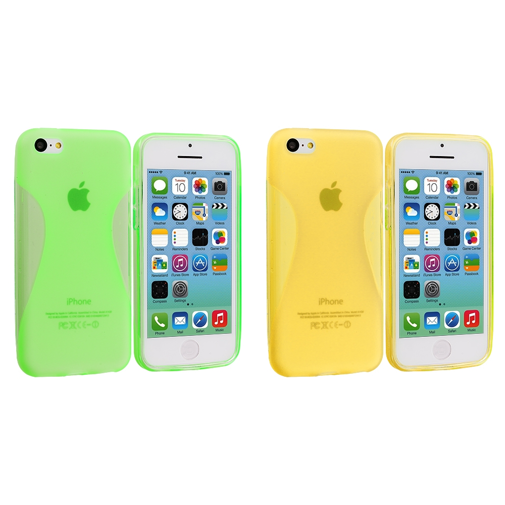 Apple iPhone 5C 2 in 1 Combo Bundle Pack - Neon Green Yellow Slim TPU Rubber Skin Case Cover