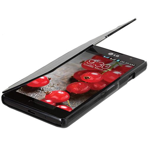 LG Optimus L9 P769 T-Mobile Black Magnetic Wallet Case Cover Pouch